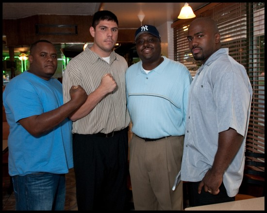 The late Octavius James (second from right) with Tyree Ortiz (second from left) at the weigh-in for Ortiz' fight last week.