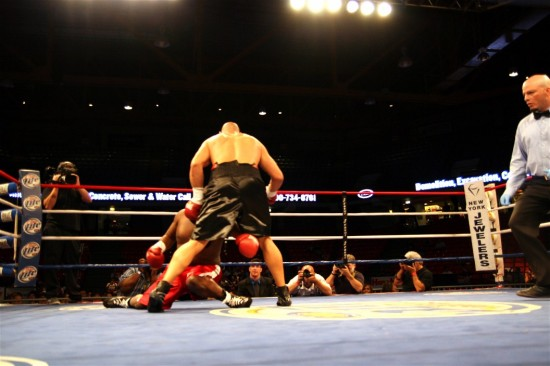 Referee Celestino Ruiz -- as the rest of us -- looks on with surprise as Latoria quickly flattens Bradley