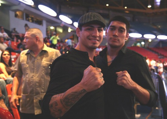 Don -- or Donovan -- George (left) with a friend of his mug for the camera in the stands prior to Latoria's fight.