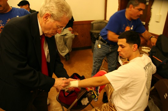Francisco Rodriguez seen here getting his handwraps approved prior to a fight about a year ago (photo by Juan C. Ayllon)