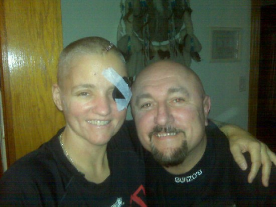 Rita Figueroa with her cousin, Gary, as she recovers from  her ordeal (photo courtesy of Rita Figueroa)