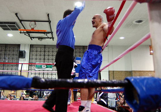 Referee Pete Podgorski waves off the fight