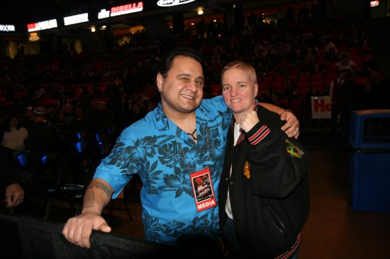 Rita Figueroa with popular boxing writer Coyote Duran (photo by Juan C. Ayllon).
