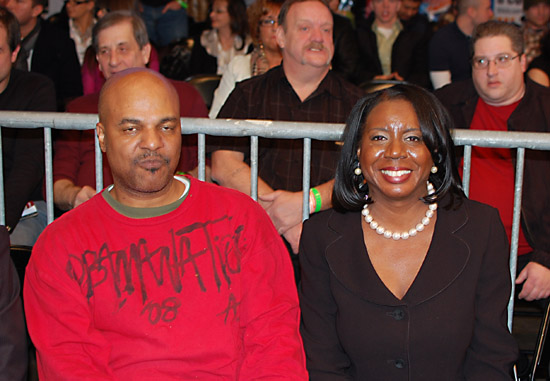 Dorothy Brown at ringside with a friend