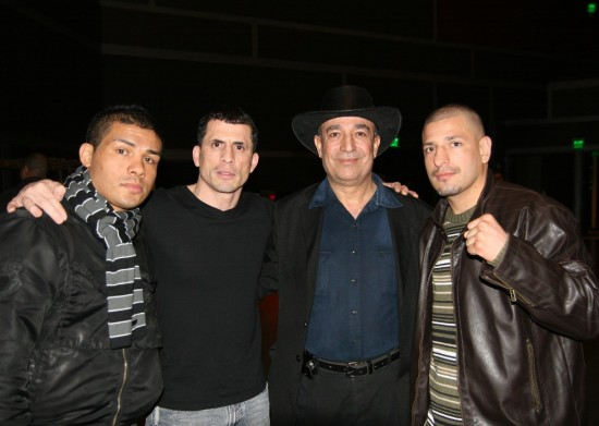 "Left to right:  Angel ""El Torro"" Hernandez, ""Fearless"" Fernando Hernandez, Chicago Fight Club owner Wasfi Tolaymat, and ""King"" David Estrada."