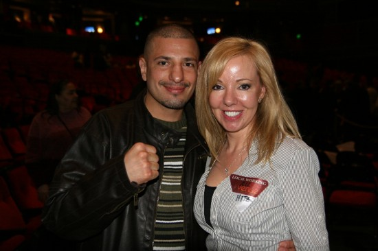 "Welterweight contender ""King"" David Estrada with Belle, who told him, ""Watch that fist -- you may knock me out, but I'll hit you back because I'm Irish!"""
