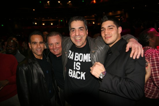 "Pete ""Papa Bomb"" George (2nd from right) with ""Hollywood"" Jiminez at ringside."