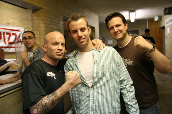 Left to right:  Former champ Angel Manfredy, Connor and Daniel Royle