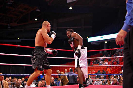 Donatas Bondarevas (L) looks for an opening against Mustafah Johnson