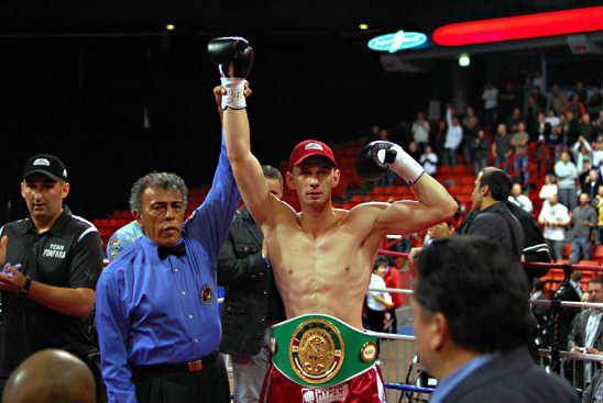 WBC Youth Lt. Heavyweight Champ Andrzej Fonfara celebrates his KO victory over Anthony Doughty--Photo by Scott Dray