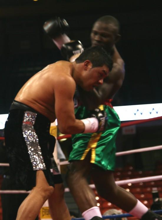 Adama (right) bangs away at Hernandez.
