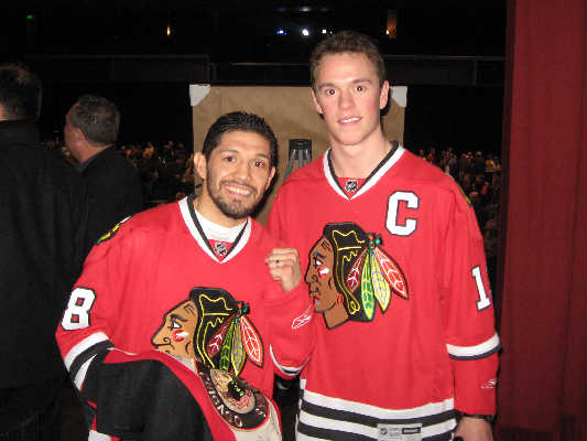 David Diaz (L) with Jonathan Toews/Photo courtesy of 8 Count Productions