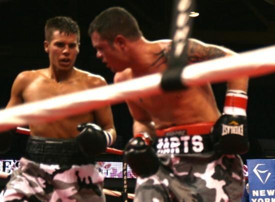 Joe Linenfelser (left) pursues a retreating Jeremy Marts.