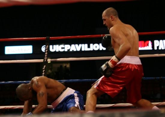 Kovalev knocks down Fogle.