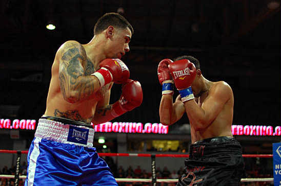 Garcia (L) pursues Coverson