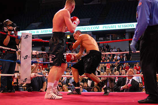 Russell is unable to withstand the final onslaught from Fonfara