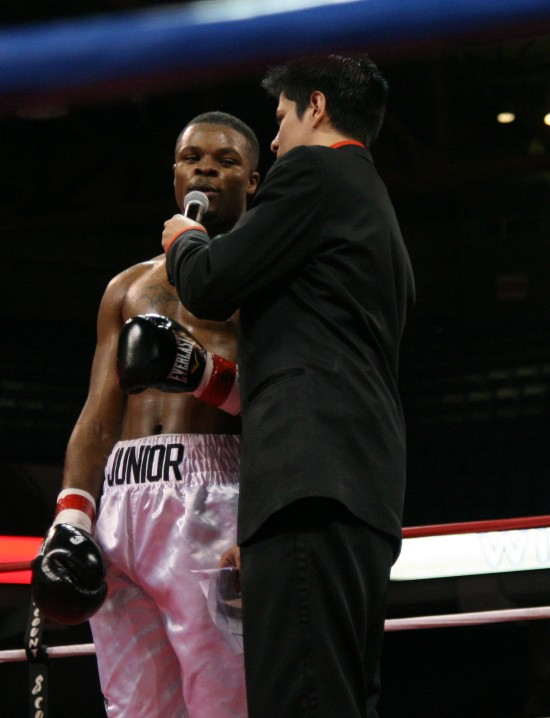 Wright is interviewed by Ray Flores after his victory.