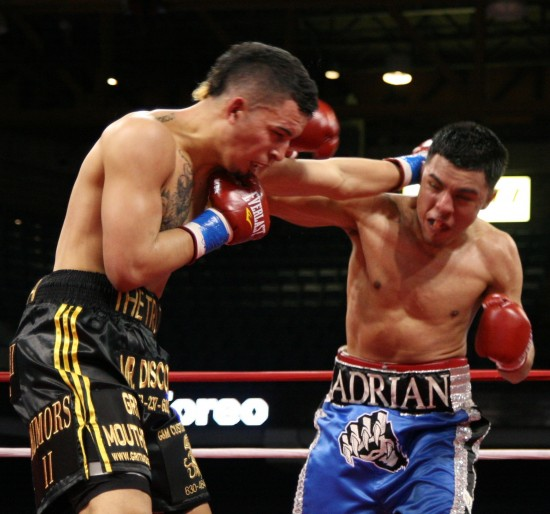 Herrera (left) and Granados exchange fire.