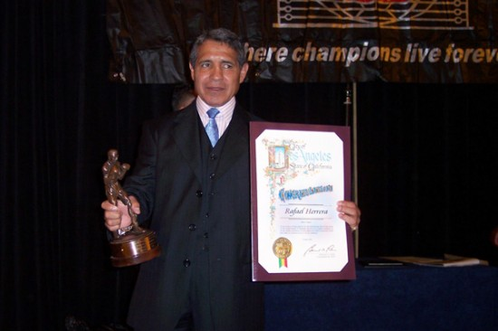 Herrera being inducted into the World Boxing Hall of Fame.