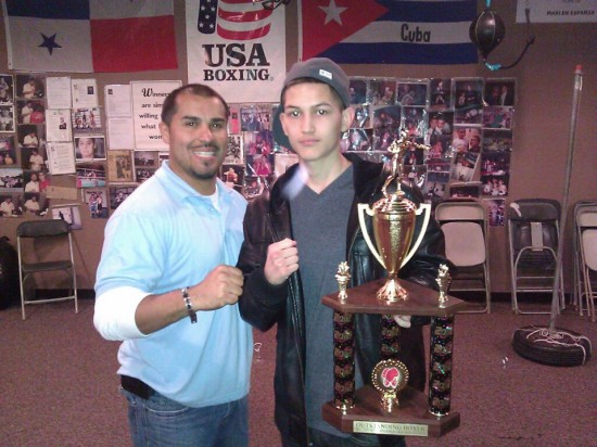 "David Pereida (left) mugs with ""Outstanding Boxer Of The 2012 Houston Golden Gloves,"" Marc Torres"