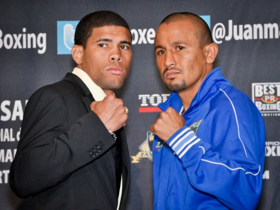 "Juan Manuel ""Juanma"" Lopez (left) with Orlando Salido (Photo Credit: Peter Amador / Top Rank)"