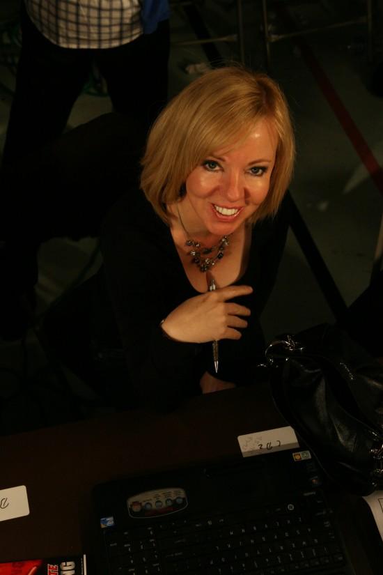 Belle Ayllon at Juan Ayllon's ringside seat.