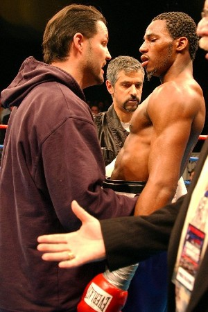 John Scully, left, with Chad Dawson, after Dawson scored a 7th round stoppage over former junior middleweight world champion Carl Daniels at Foxwoods on December 10, 2004. (photo courtesy of John Scully)