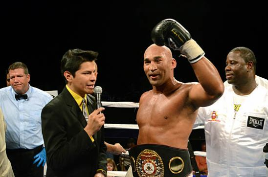 Fres Oquendo shows off the WBA Fedelatin Heavyweight Title belt as he thanks his fans