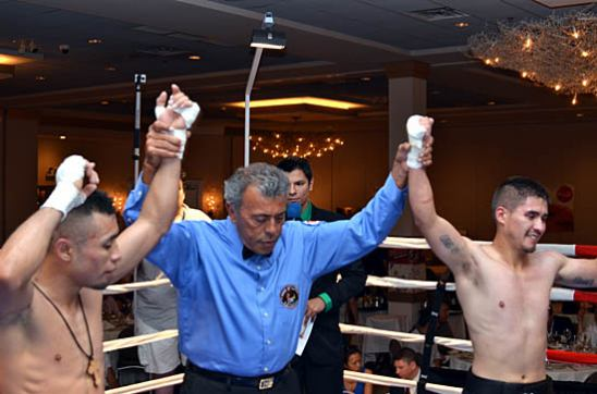Sergio Montes de Oca (L) and Salvador Perez respond to the Majority Draw