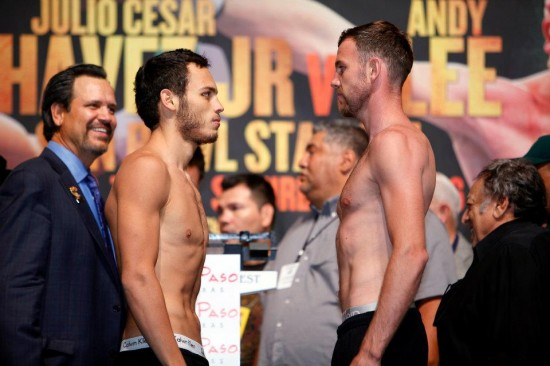 Julio Cesar Chavez, Jr. (left) and Andy Lee at their weigh-in.  Photo courtesy of HBO on Facebook.