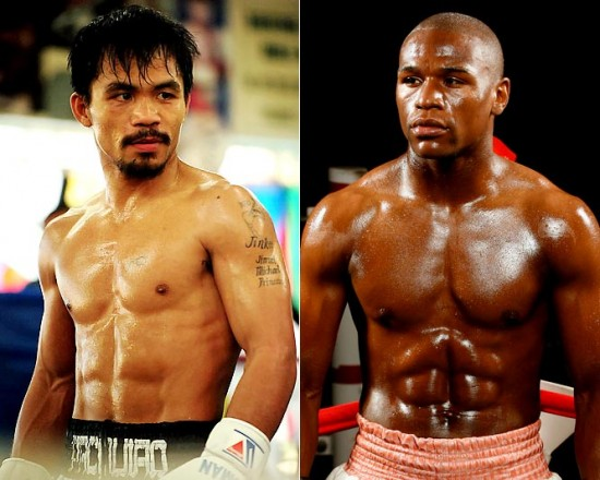 Pacquiao (left) and Mayweather (photo courtesy of www.mp8.ph/news)