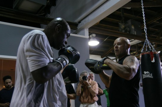 Glen Johnson, seen here working the focus mits with his trainer (photo by Juan C. Ayllon)