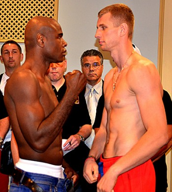 Johnson (L) and Fonfara try to stare each other down
