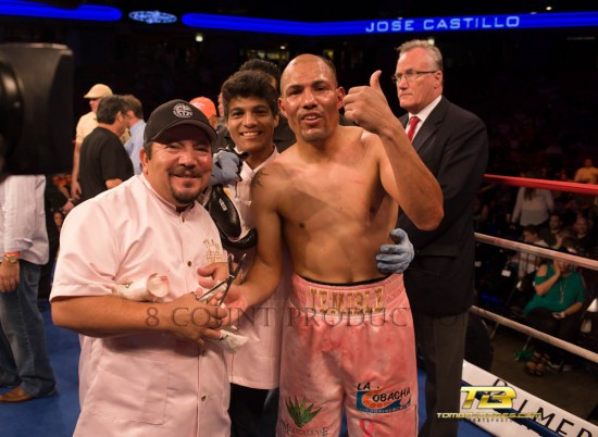 "A jubillant Castillo with his cornermen gives the ""Thumbs up"" afterwards (Tom Barnes photo)"