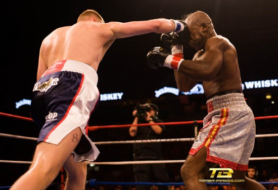 Fonfara (left) connects with a crunching right (photo by Tom Barnes)