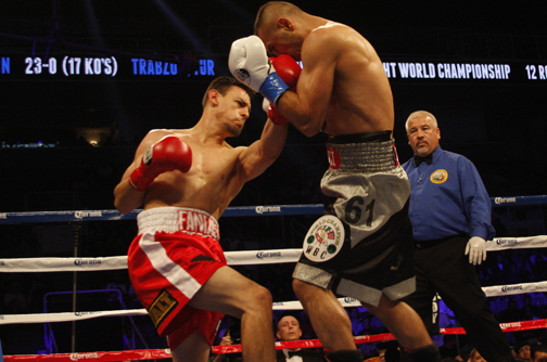 Guerrero (left) attacks Aydin wiith a right