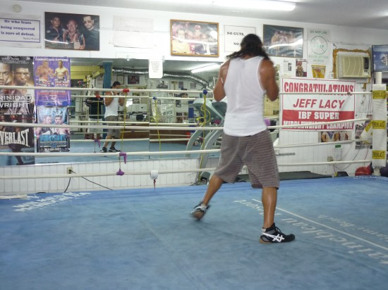 Thurman boxes against his mirrored reflection (photo by Belle Ayllon)