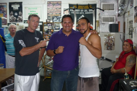 Juan Ayllon's father-in-law, Billy Stevenson at far left, looks on as trainer Dan Birmingham (left) and Keith Thurman flank Ayllon (photo by Belle Ayllon)
