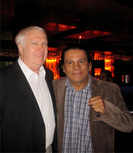 Indiana judge Gary Merritt at left with all-time great boxing champion Roberto Duran (photo courtesy of Jake Hall)