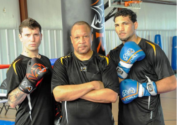 (L-R) Danny O'Connor, trainer Ronnie Shields, and Edwin Rodriguez