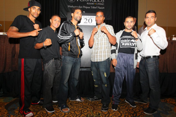 (L-R) Alex Perez, Luis Orlando Del Valle, Edwin Rodriguez, Jason Escalera, Vic Darchinyan and Anton Decarie - Photo by Star Boxing/DiBella Entertainment - Ed Diller