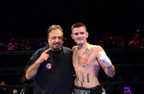 Jonathan Manos with trainer Sam Colonna After His 2nd Round TKO Victory