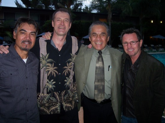Ex-champs Carlos Palomino (far left) and Armando Muniz (second from right) with former boxer Rick Farris (far right) and CBZ writer Dan Hanley (second from left) at the California Boxing Hall of Fame last month.