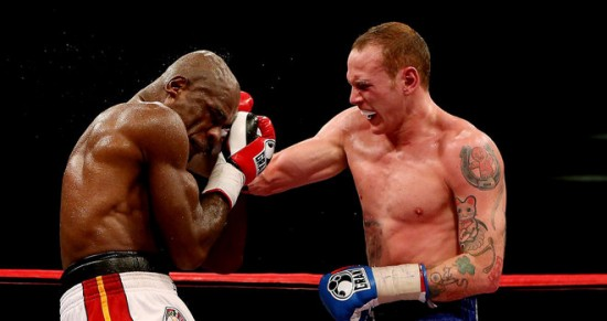 Groves (at right) rallies against Johnson (photo courtesy of Skysports.com)