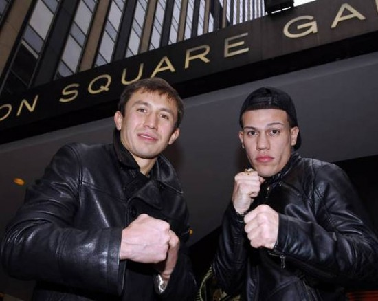 WB Middleweight Champion Gennady Golovkin (left) and Gabriel Rosado (photo by Will Hart)