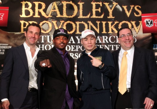 Bradley (second from left) and Provodnikov (second from right) will soon be facing off in the ring (photo courtesy of Chris Farina/Top Rank, Copyright 2013)