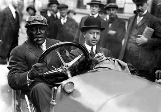 Jack Johnson (left) was fond of driving fast.