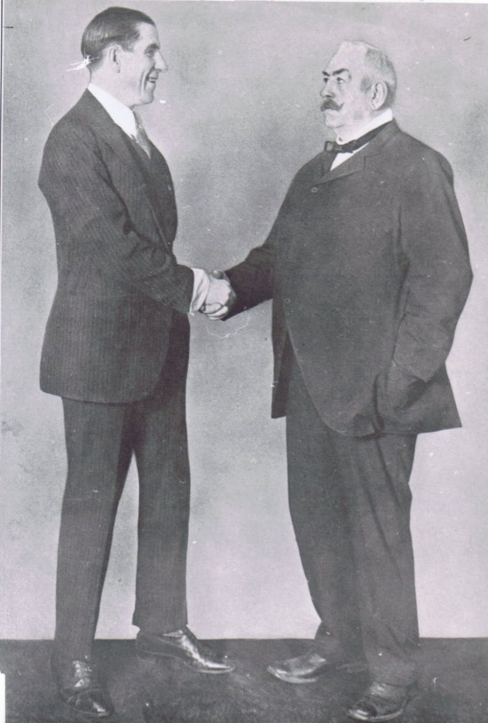 Corbett (left) and Sullivan years later after their legendary fight.