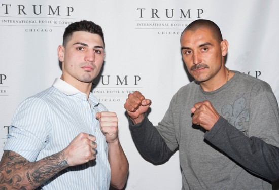 Donovan George at left with his opponent this Friday, David Lopez.