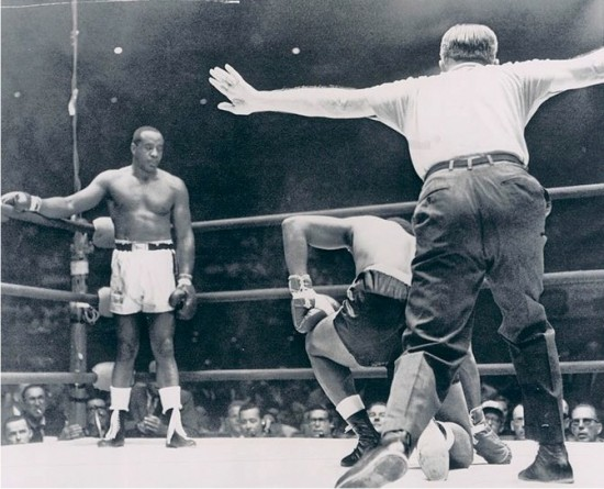 Sonny Liston, shown here at far left halting Patterson in Las Vegas, fought him at Comiskey Park in September 1962 (photo courtesy of boxrec.com)